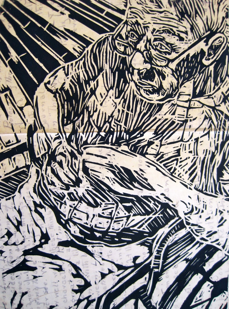 Woodcut on paper, 2011